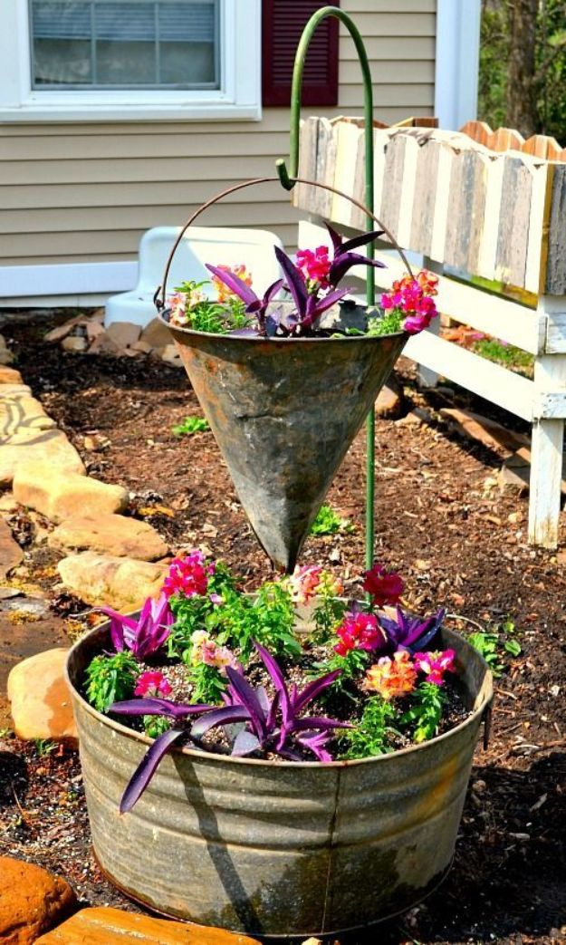 Container Gardening Ideas - Vintage Container Gardening - Easy Garden Projects for Containers and Growing Plants in Small Spaces - DIY Potting Tips and Planter Boxes for Vegetables, Herbs and Flowers - Simple Ideas for Beginners -Shade, Full Sun, Pation and Yard Landscape Idea tutorials http://diyjoy.com/container-gardening-ideas