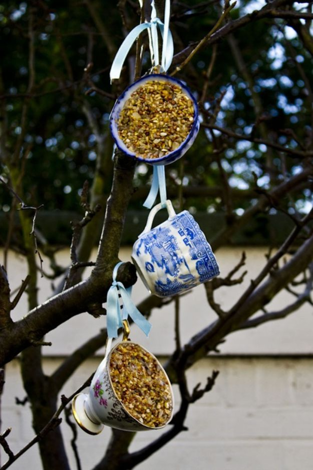 DIY Bird Feeders - Vintage Tea Cup Bird Feeder - Easy Do It Yourself Homemade Bird Feeder Ideas from Mason Jar, Wooden, Wine Bottle, Milk Jug, Plastic, Dollar Store Supplies - Squirrel Proof, Unique and Creative Tutorials That Make Cool DIY Gifts #diyideas #birds