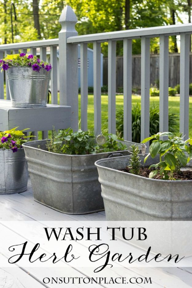Container Gardening Ideas - Wash Tub Herb Garden - Easy Garden Projects for Containers and Growing Plants in Small Spaces - DIY Potting Tips and Planter Boxes for Vegetables, Herbs and Flowers - Simple Ideas for Beginners -Shade, Full Sun, Pation and Yard Landscape Idea tutorials http://diyjoy.com/container-gardening-ideas