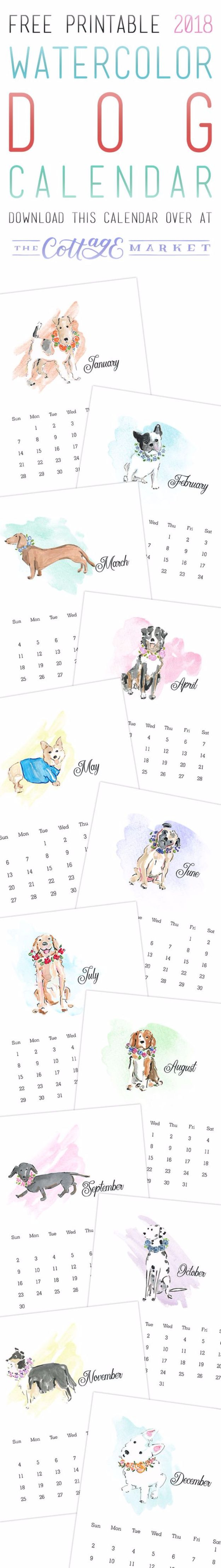 DIY Ideas With Dogs - Watercolor Dog Calendar Free Printable - Cute and Easy DIY Projects for Dog Lovers - Wall and Home Decor Projects, Things To Make and Sell on Etsy - Quick Gifts to Make for Friends Who Have Puppies and Doggies - Homemade No Sew Projects- Fun Jewelry, Cool Clothes and Accessories #dogs #crafts #diyideas