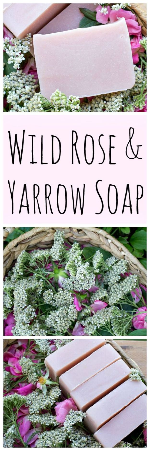 DIY Soap Recipes - Wild Rose And Yarrow Soap - Melt and Pour, Homemade Recipe Without Lye - Natural Soap crafts for Kids - Shea Butter, Essential Oils, Easy Ides With 3 Ingredients - soap recipes with step by step tutorials #soap #diygifts