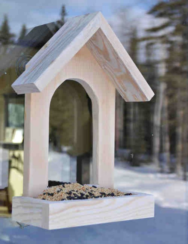 DIY Bird Feeders - Window Birdfeeder - Easy Do It Yourself Homemade Bird Feeder Ideas from Mason Jar, Wooden, Wine Bottle, Milk Jug, Plastic, Dollar Store Supplies - Squirrel Proof, Unique and Creative Tutorials That Make Cool DIY Gifts #diyideas #birds