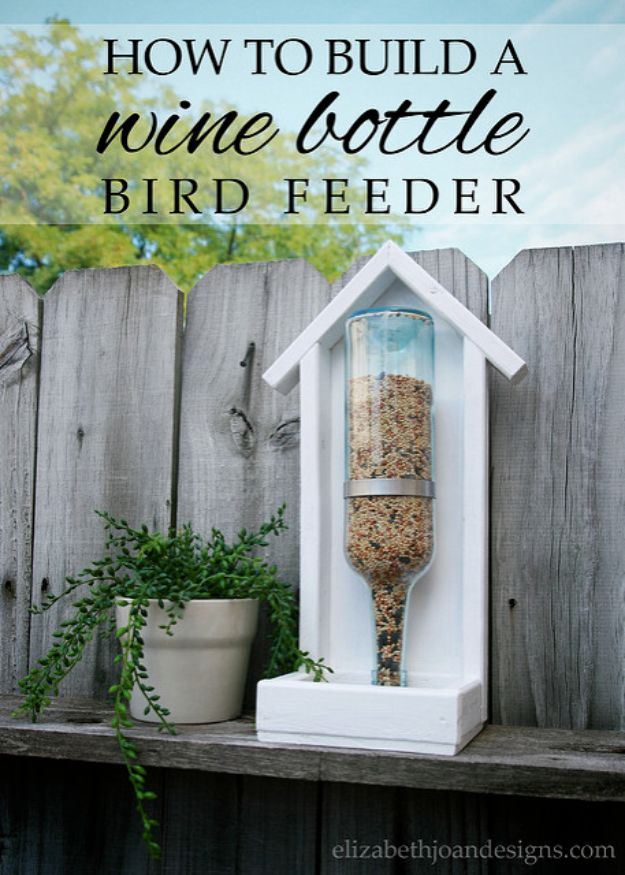 DIY Bird Feeders - Wine Bottle Bird Feeder - Easy Do It Yourself Homemade Bird Feeder Ideas from Mason Jar, Wooden, Wine Bottle, Milk Jug, Plastic, Dollar Store Supplies - Squirrel Proof, Unique and Creative Tutorials That Make Cool DIY Gifts #diyideas #birds