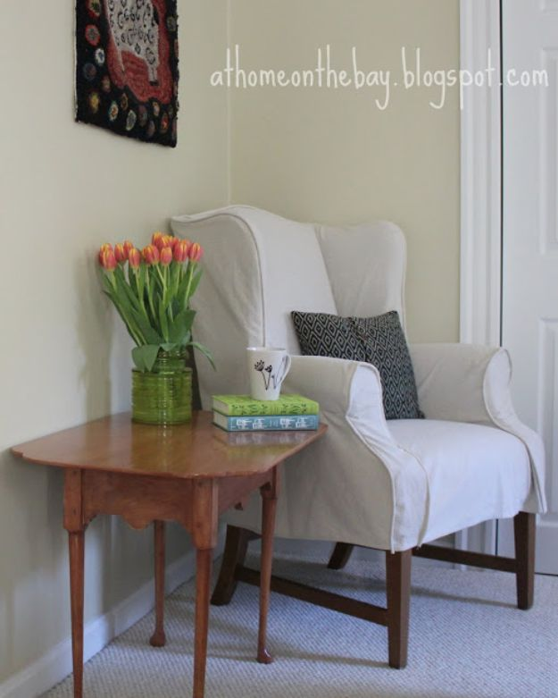 DIY Slipcovers - Wing Chair Slipcover - Do It Yourself Slip Covers For Furniture - No Sew Ideas, Easy Fabrics Four Couch and Sofa Cover - Chair Projects and Ideas, How To Make a Slip cover with step by step tutorial and instructions - Cool DIY Home and Living Room Decor #slipcovers #diydecor