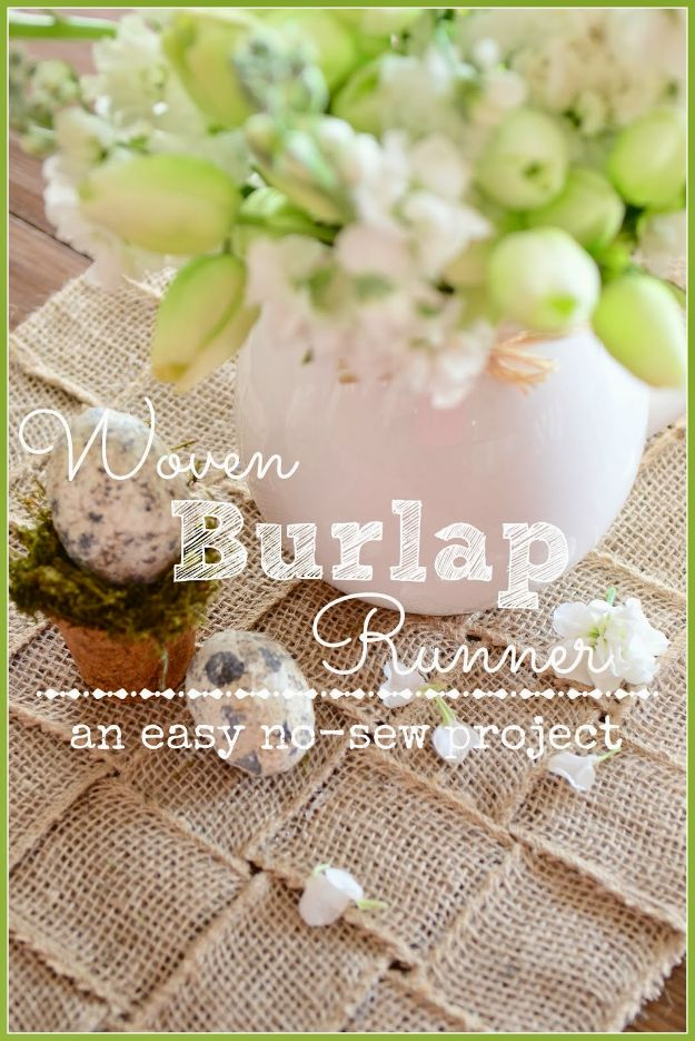 DIY Burlap Ideas - Woven Burlap Runner DIY - Burlap Furniture, Home Decor and Crafts - Banners and Buntings, Wall Art, Ottoman from Coffee Sacks, Wreath, Centerpieces and Table Runner - Kitchen, Bedroom, Living Room, Bathroom Ideas - Shabby Chic Craft Projects and DIY Wedding Decor http://diyjoy.com/diy-burlap-decor-ideas