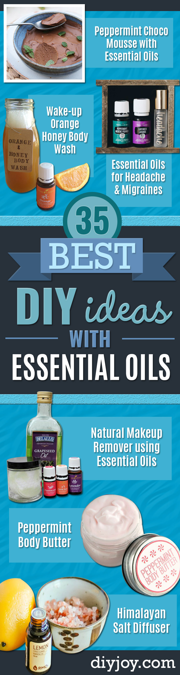 DIY Essential Oil Recipes and Ideas - Cool Recipes, Crafts and Home Decor to Make With Essential Oil - Diffuser Projects, Roll On Prodicts for Skin - Recipe Tutorials for Cleaning, Colds, For Sleep, For Hair, For Paint, For Weight Loss http://diyjoy.com/diy-ideas-essential-oils