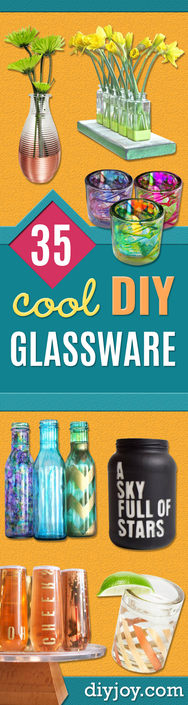 DIY Glassware - Cool Bar and Drink Glasses You Can Make and Decorate for Creative and Unique Serving Glass Ideas - Mugs, Cups, Decanters, Pitchers and Glass Ware Projects - Paint, Etch, Etching Tutorials, Dotted, Sharpie Art and Dishwasher Safe Decorating Tips - Easy DIY Gift Ideas for Him and Her - Handmade Home Decor DIY http://diyjoy.com/diy-glassware