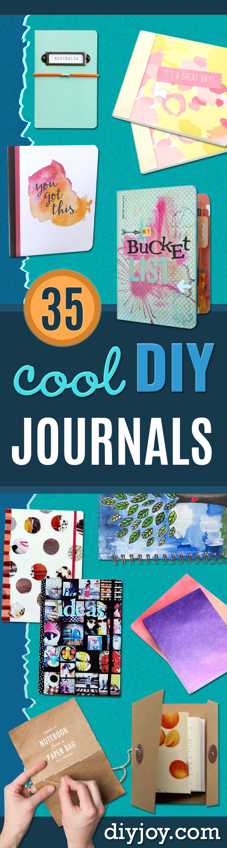 DIY Journals - Ideas For Making A Handmade Journal - Cover Art Tutorial, Binding Tips, Easy Craft Ideas for Kids and For Teens - Step By Step Instructions for Making From Scratch, From An Old Book - Leather, Faux Marble, Paper, Monogram, Cute Do It Yourself Gift Idea