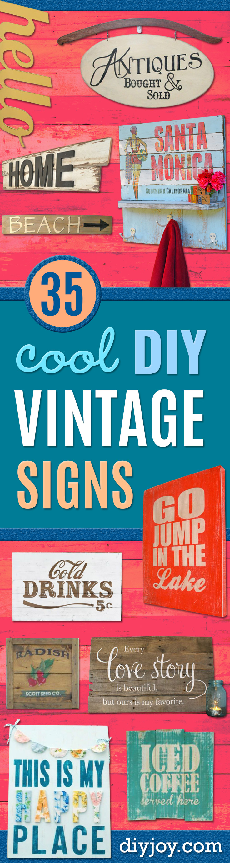 DIY Vintage Signs - Rustic, Vintage Sign Projects to Make At Home - Creative Home Decor on a Budget and Cheap Crafts for Living Room, Bedroom and Kitchen - Paint Letters, Transfer to Wood, Aged Finishes and Fun Word Stencils and Easy Ideas for Farmhouse Wall Art http://diyjoy.com/diy-vintage-signs