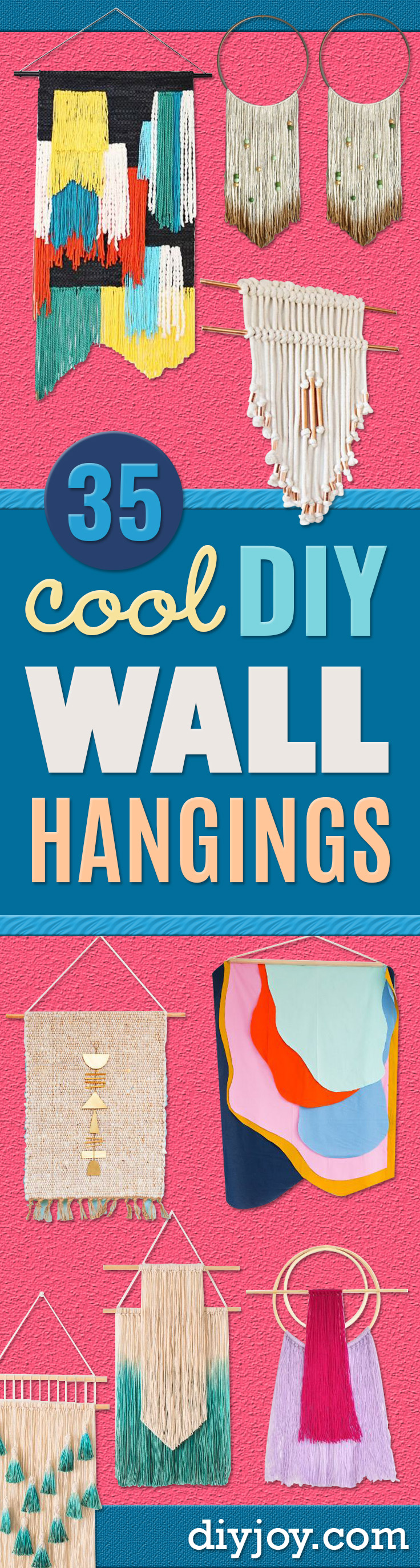 DIY Wall Hangings - Easy Yarn Projects , Macrame Ideas , Fabric Tapestry and Paper Arts and Crafts , Planter and Wood Board Ideas for Bedroom and Living Room Decor - Cute Mobile and Wall Hanging for Nursery and Kids Rooms http://diyjoy.com/diy-wall-hangings