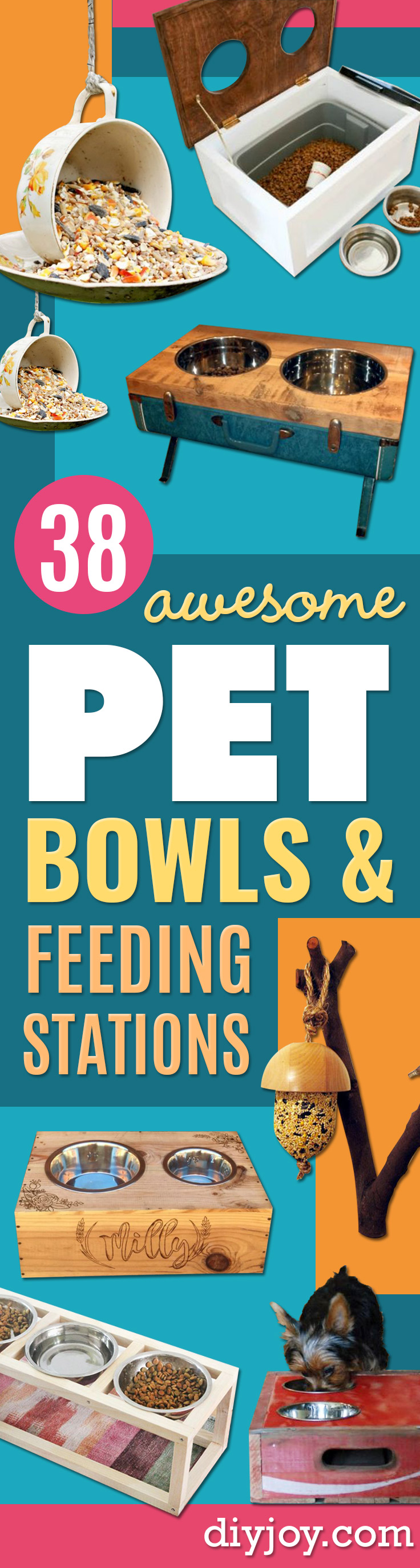 DIY Pet Bowls And Feeding Stations - Easy Ideas for Serving Dog and Cat Food, Ways to Raise and Store Bowls - Organize Your Dog Food and Water Bowl With These Cute and Creative Ideas for Dogs and Cats- Monogram, Painted, Personalized and Rustic Crafts and Projects http://diyjoy.com/diy-pet-bowls-feeding-station