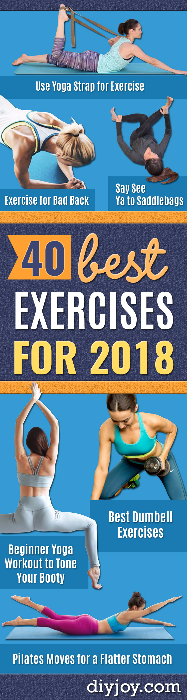 Best Exercises for 2018 - Easy At Home Exercises - Quick Exercise Tutorials to Try at Lunch Break - Ways To Get In Shape - Butt, Abs, Arms, Legs, Thighs, Tummy http://diyjoy.com/best-at-home-exercises-2018