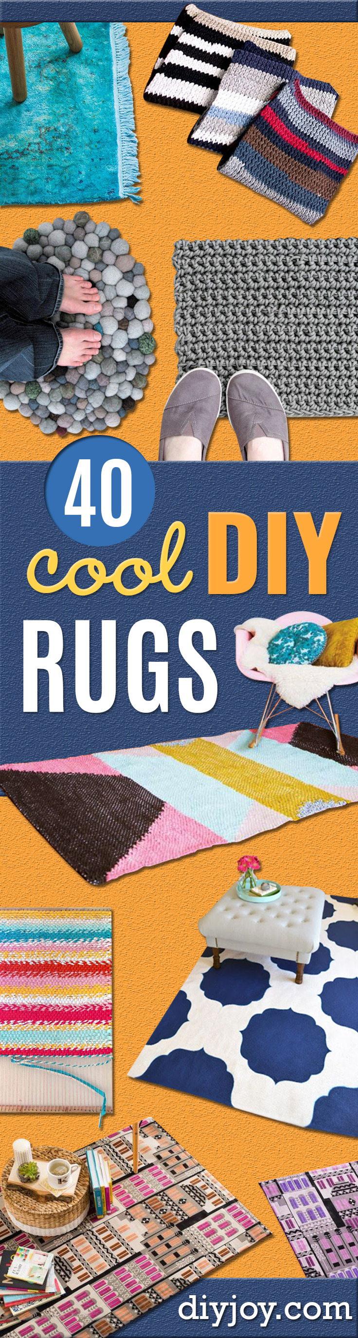 DIY Rugs - Ideas for An Easy Handmade Rug for Living Room, Bedroom, Kitchen Mat and Cheap Area Rugs You Can Make - Stencil Art Tutorial, Painting Tips, Fabric, Yarn, Old Denim Jeans, Rope, Tshirt, Pom Pom, Fur, Crochet, Woven and Outdoor Projects - Large and Small Carpet http://diyjoy.com/diy-rug-tutorials