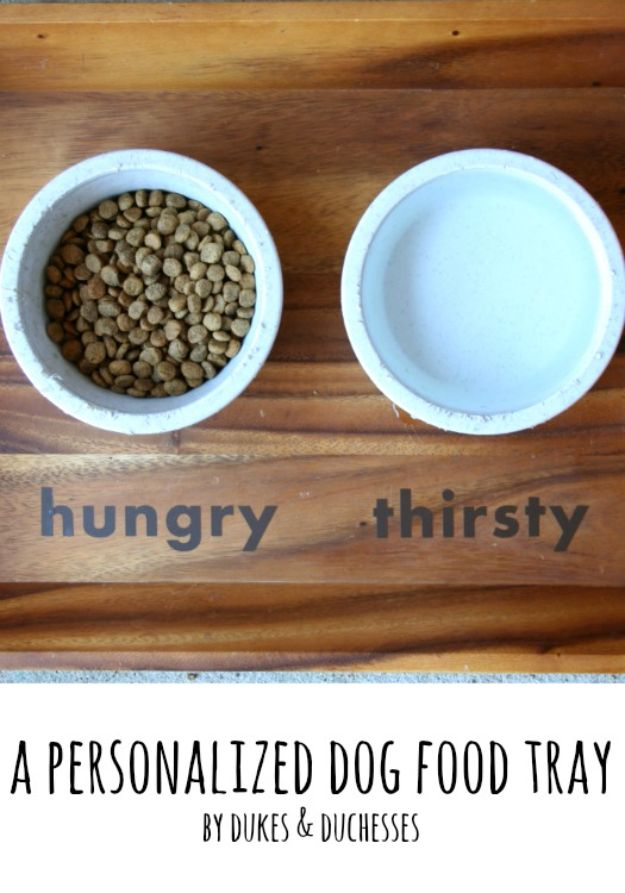 DIY Pet Bowls And Feeding Stations - A Personalized Dog Food Tray - Easy Ideas for Serving Dog and Cat Food, Ways to Raise and Store Bowls - Organize Your Dog Food and Water Bowl With These Cute and Creative Ideas for Dogs and Cats- Monogram, Painted, Personalized and Rustic Crafts and Projects http://diyjoy.com/diy-pet-bowls-feeding-station