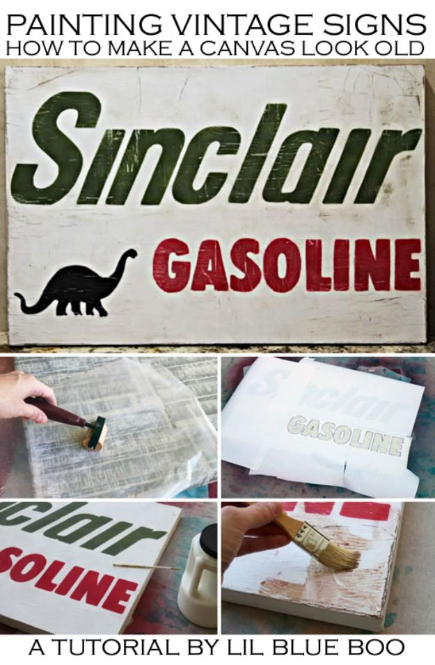 DIY Vintage Signs - A Vintage Sign Using Canvas - Rustic, Vintage Sign Projects to Make At Home - Creative Home Decor on a Budget and Cheap Crafts for Living Room, Bedroom and Kitchen - Paint Letters, Transfer to Wood, Aged Finishes and Fun Word Stencils and Easy Ideas for Farmhouse Wall Art http://diyjoy.com/diy-vintage-signs