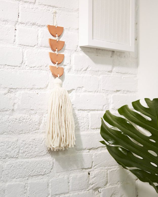 DIY Wall Hangings - Air-Dry Clay Wall Hanging - Easy Yarn Projects , Macrame Ideas , Fabric Tapestry and Paper Arts and Crafts , Planter and Wood Board Ideas for Bedroom and Living Room Decor - Cute Mobile and Wall Hanging for Nursery and Kids Rooms #wallart #diy #roomdecor