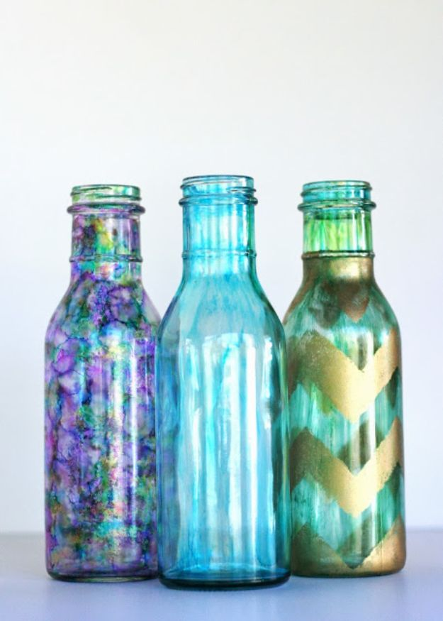 DIY Glassware - Alcohol Ink Bottles - Cool Bar and Drink Glasses You Can Make and Decorate for Creative and Unique Serving Glass Ideas - Mugs, Cups, Decanters, Pitchers and Glass Ware Projects - Paint, Etch, Etching Tutorials, Dotted, Sharpie Art and Dishwasher Safe Decorating Tips - Easy DIY Gift Ideas for Him and Her - Handmade Home Decor DIY