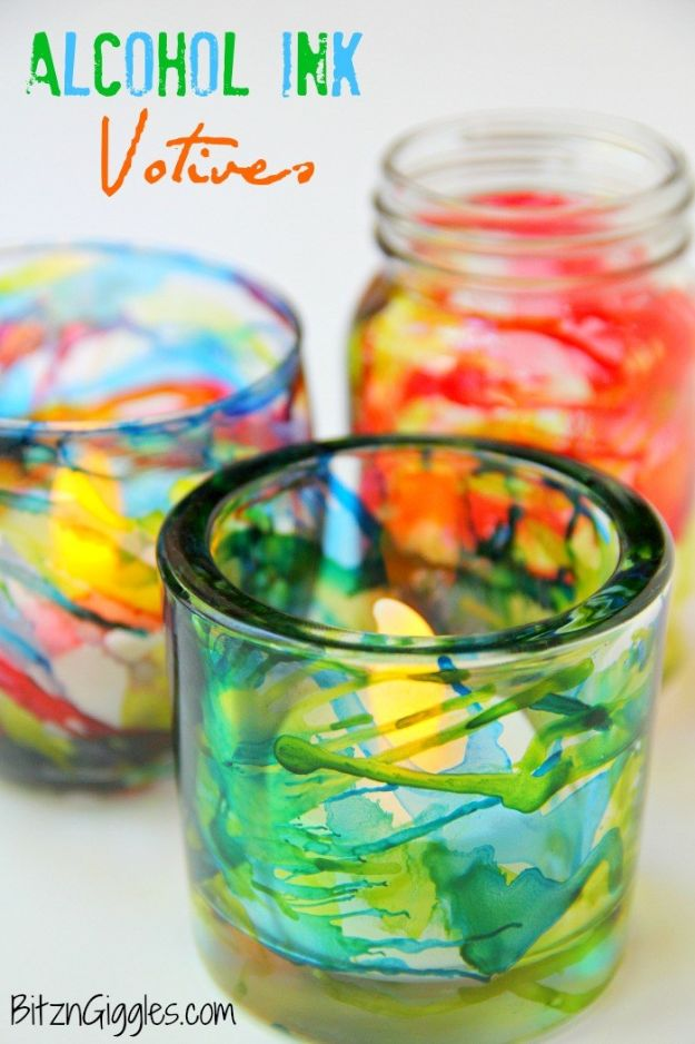 DIY Glassware - Alcohol Ink Votives - Cool Bar and Drink Glasses You Can Make and Decorate for Creative and Unique Serving Glass Ideas - Mugs, Cups, Decanters, Pitchers and Glass Ware Projects - Paint, Etch, Etching Tutorials, Dotted, Sharpie Art and Dishwasher Safe Decorating Tips - Easy DIY Gift Ideas for Him and Her - Handmade Home Decor DIY