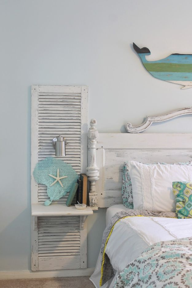 DIY Shabby Chic Decor Ideas - Antique Door Headboard Shutter - French Farmhouse and Vintage White Linens - Bedroom, Living Room, Bathroom Ideas, Distressed Furniture and Boho Crafts - Cheap Dollar Store Projects and Upcycle Repurposed Home Decor #diyideas #shabbychic #diyhomedecor