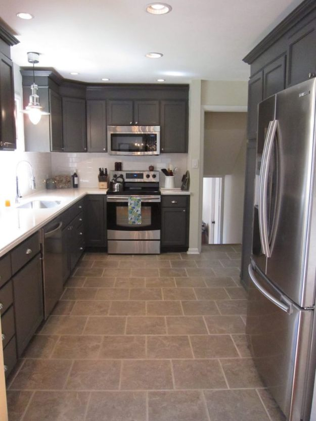 DIY Kitchen Cabinet Ideas - Charcoal Grey Kitchen Cabinets - Makeover and Before and After - How To Build, Plan and Renovate Your Kitchen Cabinets - Painted, Cheap Refact, Free Plans, Rustic Decor, Farmhouse and Vintage Looks, Modern Design and Inexpensive Budget Friendly Projects