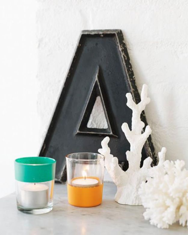 DIY Candle Holders - Color-Block Votives - Easy Ideas for Home Decor With Candles, Tall Candlesticks and Votives - Fun Wooden, Rustic, Glass, Mason Jar, Boho and Projects With Items From Dollar Stores - Christmas, Holiday and Wedding Centerpieces - Cool Crafts and Homemade Cheap Gifts http://diyjoy.com/diy-candle-holders
