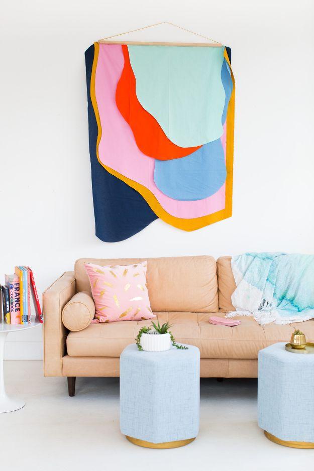 DIY Wall Hangings   Colorful DIY Fabric Wall Hanging   Easy Yarn Projects ,  Macrame Ideas