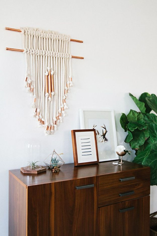 DIY Wall Hangings - Copper Pipe Wall Hanging DIY - Easy Yarn Projects , Macrame Ideas , Fabric Tapestry and Paper Arts and Crafts , Planter and Wood Board Ideas for Bedroom and Living Room Decor - Cute Mobile and Wall Hanging for Nursery and Kids Rooms http://diyjoy.com/diy-wall-hangings
