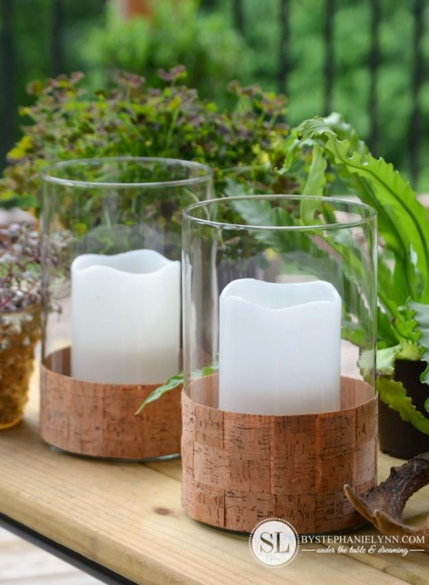DIY Candle Holders - Cork Wrapped Candle Holders - Easy Ideas for Home Decor With Candles, Tall Candlesticks and Votives - Fun Wooden, Rustic, Glass, Mason Jar, Boho and Projects With Items From Dollar Stores - Christmas, Holiday and Wedding Centerpieces - Cool Crafts and Homemade Cheap Gifts http://diyjoy.com/diy-candle-holders