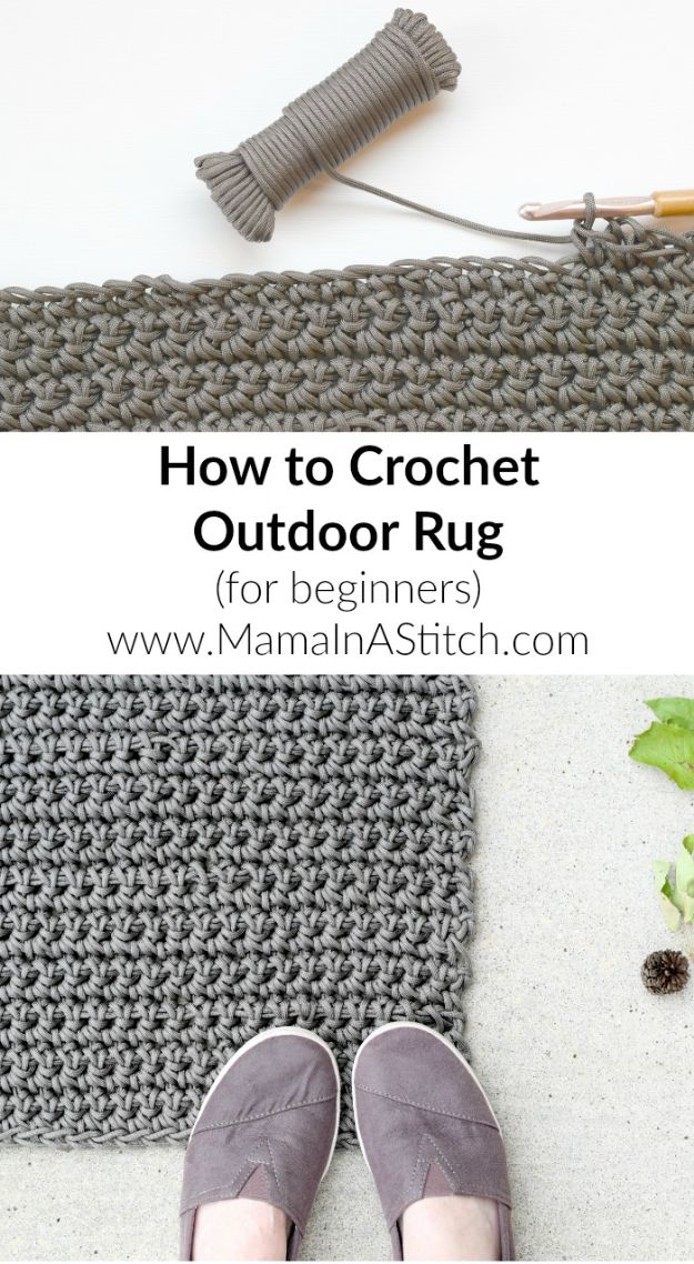 DIY Rugs - Crochet an Outdoor Rug - Ideas for An Easy Handmade Rug for Living Room, Bedroom, Kitchen Mat and Cheap Area Rugs You Can Make - Stencil Art Tutorial, Painting Tips, Fabric, Yarn, Old Denim Jeans, Rope, Tshirt, Pom Pom, Fur, Crochet, Woven and Outdoor Projects - Large and Small Carpet #diyrugs #diyhomedecor