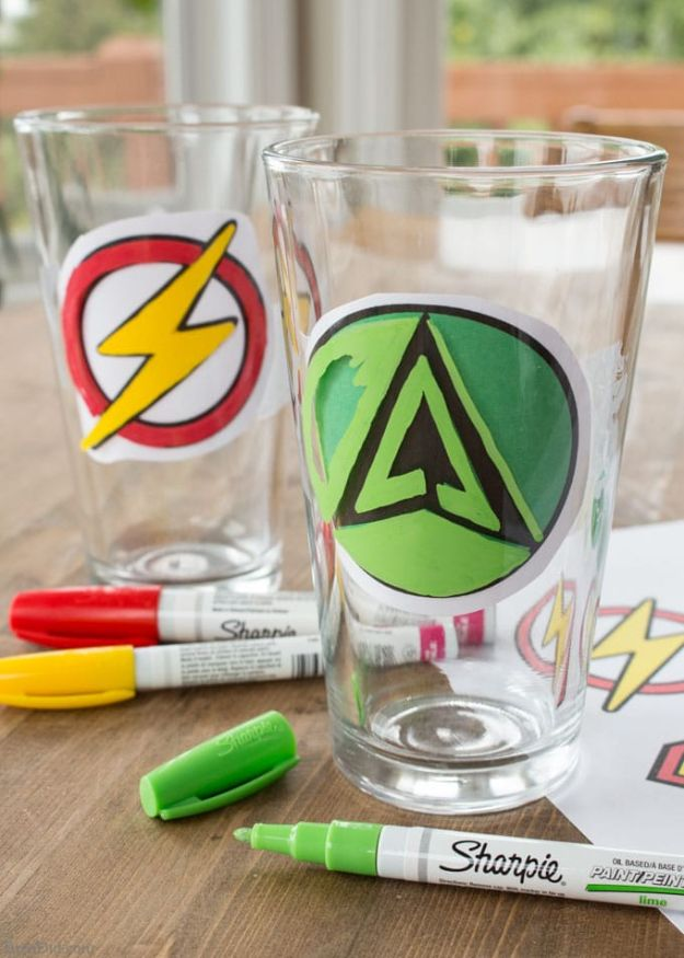DIY Glassware - Custom DIY Sharpie Glasses With Superhero Logos - Cheap Kitchen and Home Decor Ideas