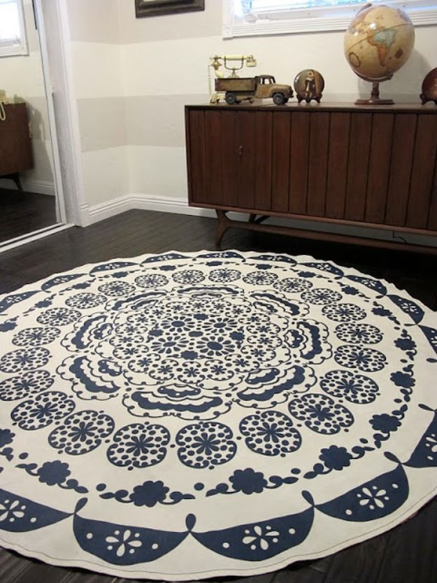 DIY Rugs - DIY Anthropologie Rug - Ideas for An Easy Handmade Rug for Living Room, Bedroom, Kitchen Mat and Cheap Area Rugs You Can Make - Stencil Art Tutorial, Painting Tips, Fabric, Yarn, Old Denim Jeans, Rope, Tshirt, Pom Pom, Fur, Crochet, Woven and Outdoor Projects - Large and Small Carpet #diyrugs #diyhomedecor
