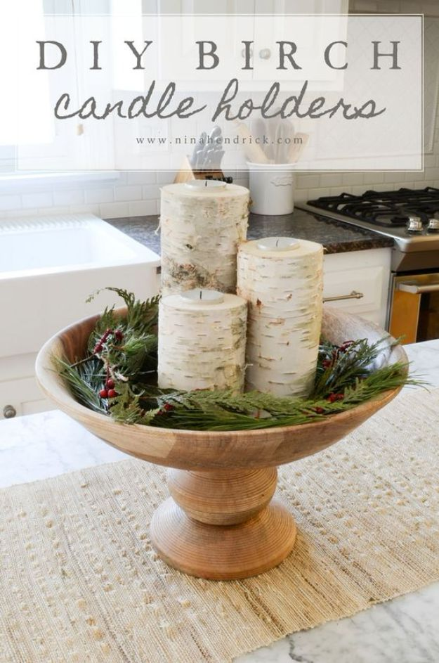DIY Candle Holders - DIY Birch Candle Holders - Easy Ideas for Home Decor With Candles, Tall Candlesticks and Votives - Fun Wooden, Rustic, Glass, Mason Jar, Boho and Projects With Items From Dollar Stores - Christmas, Holiday and Wedding Centerpieces - Cool Crafts and Homemade Cheap Gifts http://diyjoy.com/diy-candle-holders