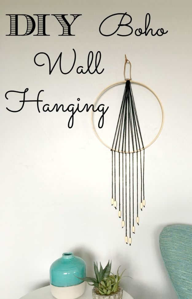 DIY Wall Hangings - DIY Boho Wall Hanging - Easy Yarn Projects , Macrame Ideas , Fabric Tapestry and Paper Arts and Crafts , Planter and Wood Board Ideas for Bedroom and Living Room Decor - Cute Mobile and Wall Hanging for Nursery and Kids Rooms http://diyjoy.com/diy-wall-hangings