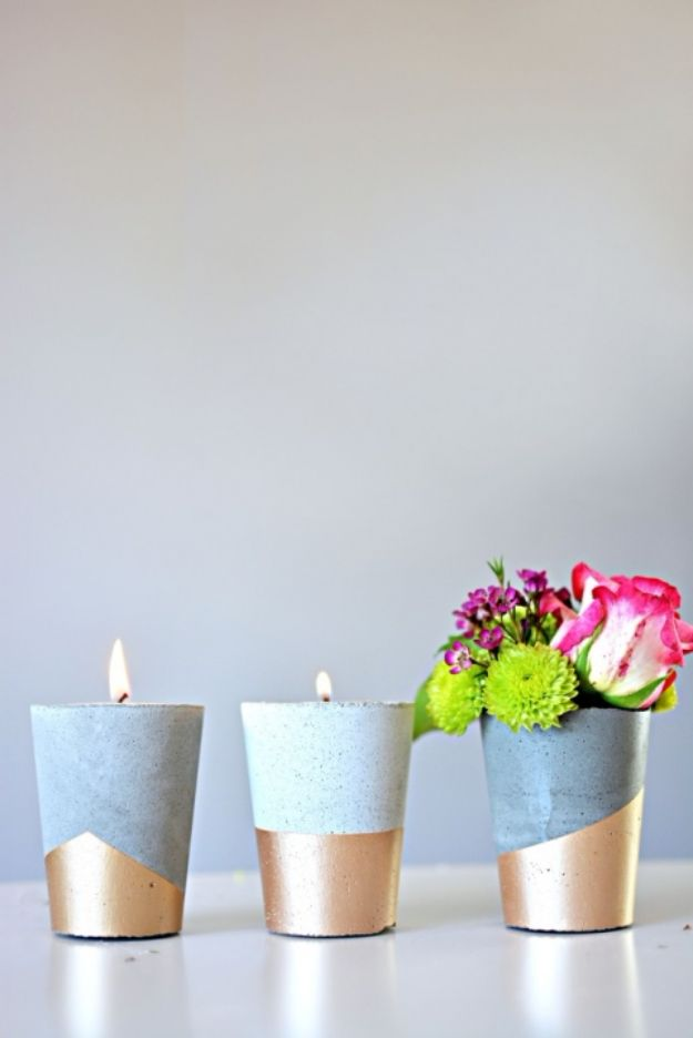 DIY Candle Holders - DIY Cement Candle Holder - Easy Ideas for Home Decor With Candles, Tall Candlesticks and Votives - Fun Wooden, Rustic, Glass, Mason Jar, Boho and Projects With Items From Dollar Stores - Christmas, Holiday and Wedding Centerpieces - Cool Crafts and Homemade Cheap Gifts http://diyjoy.com/diy-candle-holders