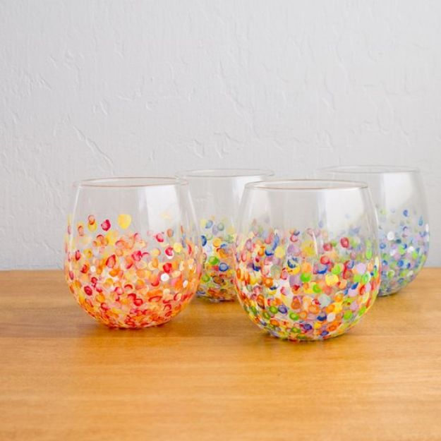 DIY Glassware - DIY Colorful Hand-Dotted Tumblers - Cool Bar and Drink Glasses You Can Make and Decorate for Creative and Unique Serving Glass Ideas - Mugs, Cups, Decanters, Pitchers and Glass Ware Projects - Paint, Etch, Etching Tutorials, Dotted, Sharpie Art and Dishwasher Safe Decorating Tips - Easy DIY Gift Ideas for Him and Her - Handmade Home Decor DIY http://diyjoy.com/diy-glassware
