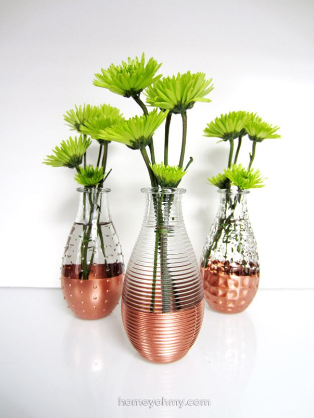 DIY Glassware - DIY Copper Dipped Vases - Cool Bar and Drink Glasses You Can Make and Decorate for Creative and Unique Serving Glass Ideas - Mugs, Cups, Decanters, Pitchers and Glass Ware Projects - Paint, Etch, Etching Tutorials, Dotted, Sharpie Art and Dishwasher Safe Decorating Tips - Easy DIY Gift Ideas for Him and Her - Handmade Home Decor DIY