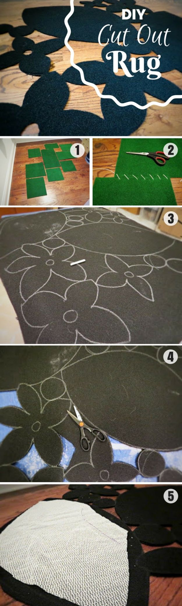 DIY Rugs - DIY Cut-Out Rug - Ideas for An Easy Handmade Rug for Living Room, Bedroom, Kitchen Mat and Cheap Area Rugs You Can Make - Stencil Art Tutorial, Painting Tips, Fabric, Yarn, Old Denim Jeans, Rope, Tshirt, Pom Pom, Fur, Crochet, Woven and Outdoor Projects - Large and Small Carpet http://diyjoy.com/diy-rug-tutorials