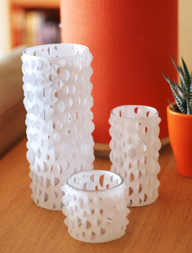 DIY Candle Holders - DIY Cut Paper Candle Holders - Easy Ideas for Home Decor With Candles, Tall Candlesticks and Votives - Fun Wooden, Rustic, Glass, Mason Jar, Boho and Projects With Items From Dollar Stores - Christmas, Holiday and Wedding Centerpieces - Cool Crafts and Homemade Cheap Gifts http://diyjoy.com/diy-candle-holders