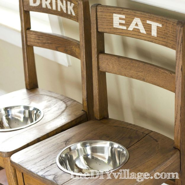 DIY Pet Bowls And Feeding Stations - DIY Dog Bowl Chairs - Easy Ideas for Serving Dog and Cat Food, Ways to Raise and Store Bowls - Organize Your Dog Food and Water Bowl With These Cute and Creative Ideas for Dogs and Cats- Monogram, Painted, Personalized and Rustic Crafts and Projects http://diyjoy.com/diy-pet-bowls-feeding-station