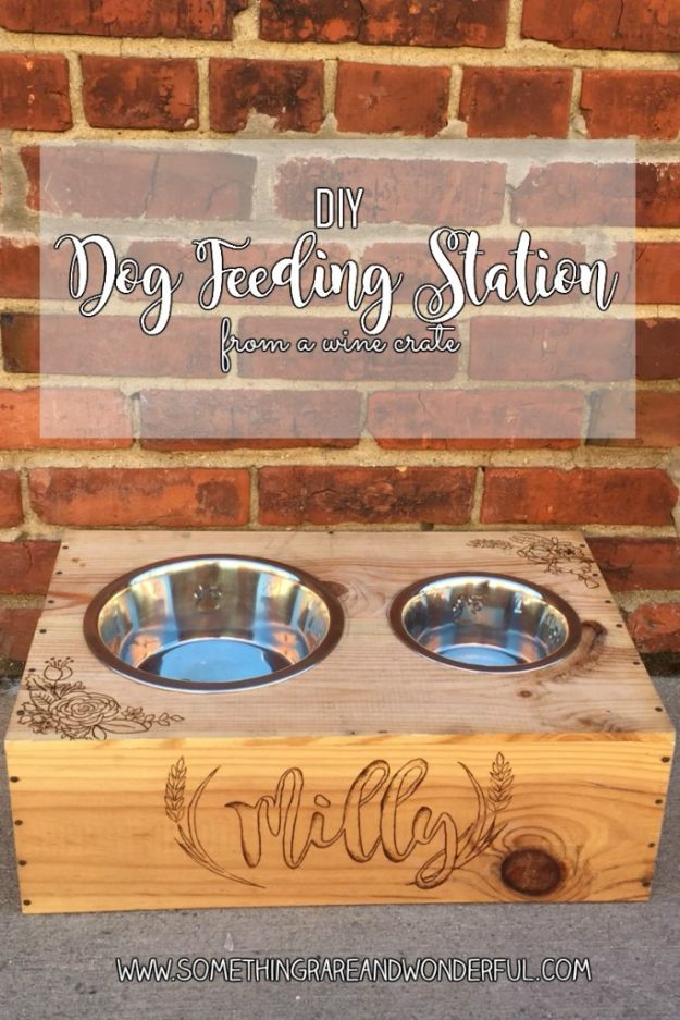 DIY Pet Bowls And Feeding Stations - DIY Dog Feeding Station From A Wine Crate - Easy Ideas for Serving Dog and Cat Food, Ways to Raise and Store Bowls - Organize Your Dog Food and Water Bowl With These Cute and Creative Ideas for Dogs and Cats- Monogram, Painted, Personalized and Rustic Crafts and Projects http://diyjoy.com/diy-pet-bowls-feeding-station