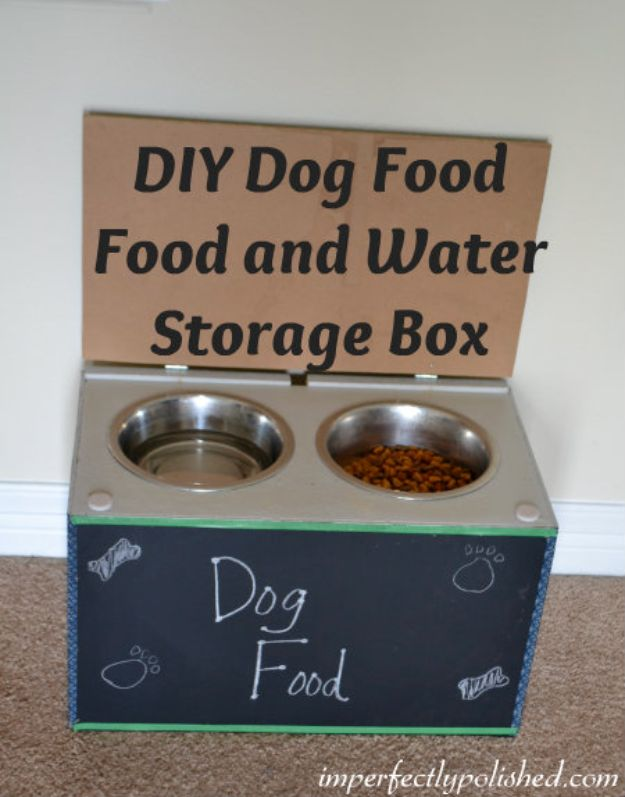 DIY Pet Bowls And Feeding Stations - DIY Dog Food and Water Feeder With Chalk board - Easy Ideas for Serving Dog and Cat Food, Ways to Raise and Store Bowls - Organize Your Dog Food and Water Bowl With These Cute and Creative Ideas for Dogs and Cats- Monogram, Painted, Personalized and Rustic Crafts and Projects http://diyjoy.com/diy-pet-bowls-feeding-station