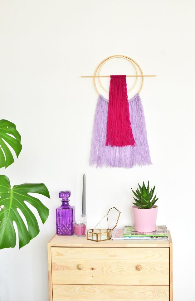 DIY Wall Hangings - DIY Embroidery Hoop Yarn Wall Hanging - Easy Yarn Projects , Macrame Ideas , Fabric Tapestry and Paper Arts and Crafts , Planter and Wood Board Ideas for Bedroom and Living Room Decor - Cute Mobile and Wall Hanging for Nursery and Kids Rooms http://diyjoy.com/diy-wall-hangings