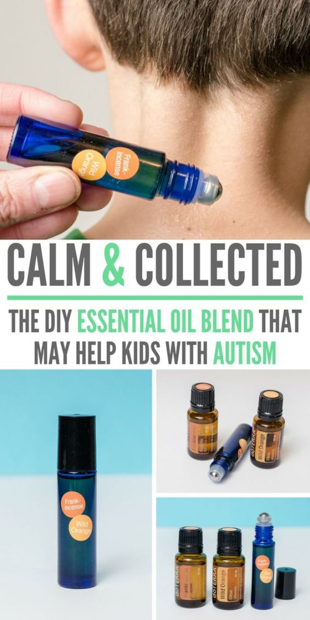 DIY Essential Oil Recipes and Ideas - DIY Essential Oil Blend for Kids with Autism - Cool Recipes, Crafts and Home Decor to Make With Essential Oil - Diffuser Projects, Roll On Prodicts for Skin - Recipe Tutorials for Cleaning, Colds, For Sleep, For Hair, For Paint, For Weight Loss http://diyjoy.com/diy-ideas-essential-oils