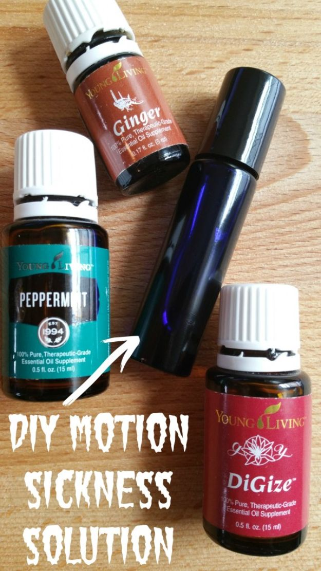 DIY Essential Oil Recipes and Ideas - DIY Essential Oils for Motion Sickness - Cool Recipes, Crafts and Home Decor to Make With Essential Oil - Diffuser Projects, Roll On Prodicts for Skin - Recipe Tutorials for Cleaning, Colds, For Sleep, For Hair, For Paint, For Weight Loss #crafts #diy #essentialoils