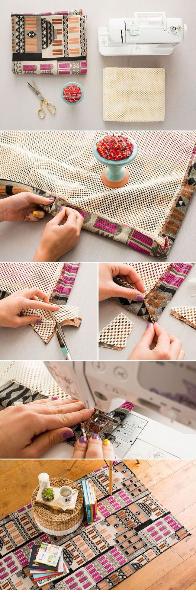 DIY Rugs - DIY Fabric Rug Hack - Ideas for An Easy Handmade Rug for Living Room, Bedroom, Kitchen Mat and Cheap Area Rugs You Can Make - Stencil Art Tutorial, Painting Tips, Fabric, Yarn, Old Denim Jeans, Rope, Tshirt, Pom Pom, Fur, Crochet, Woven and Outdoor Projects - Large and Small Carpet http://diyjoy.com/diy-rug-tutorials