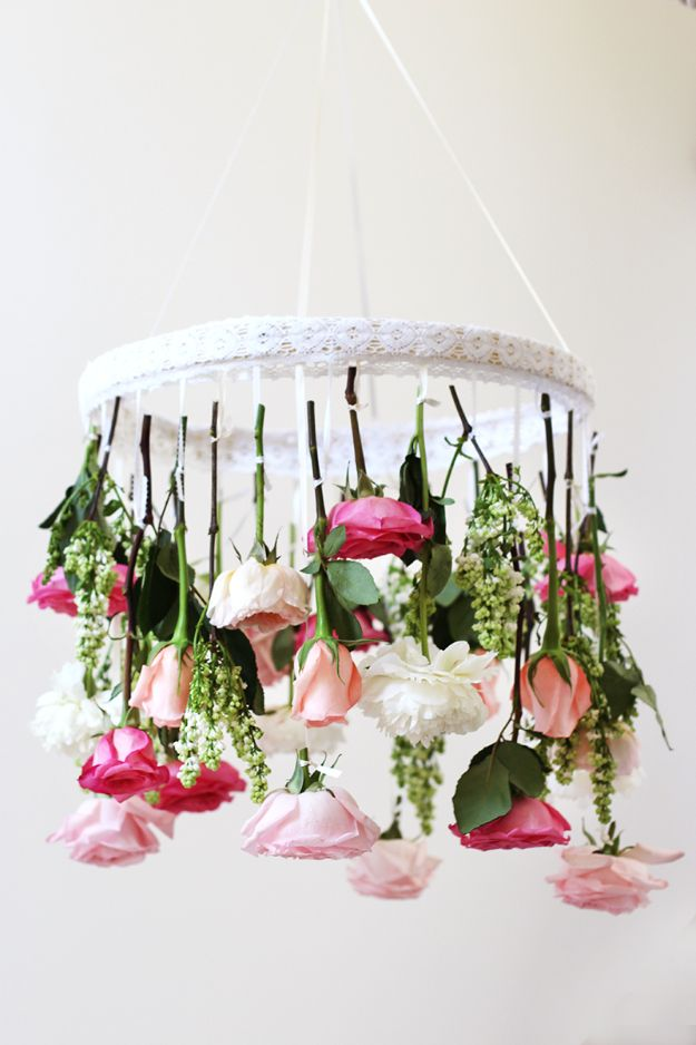 DIY Shabby Chic Decor Ideas - DIY Flower Chandelier - French Farmhouse and Vintage White Linens - Bedroom, Living Room, Bathroom Ideas, Distressed Furniture and Boho Crafts - Cheap Dollar Store Projects and Upcycle Repurposed Home Decor #diyideas #shabbychic #diyhomedecor