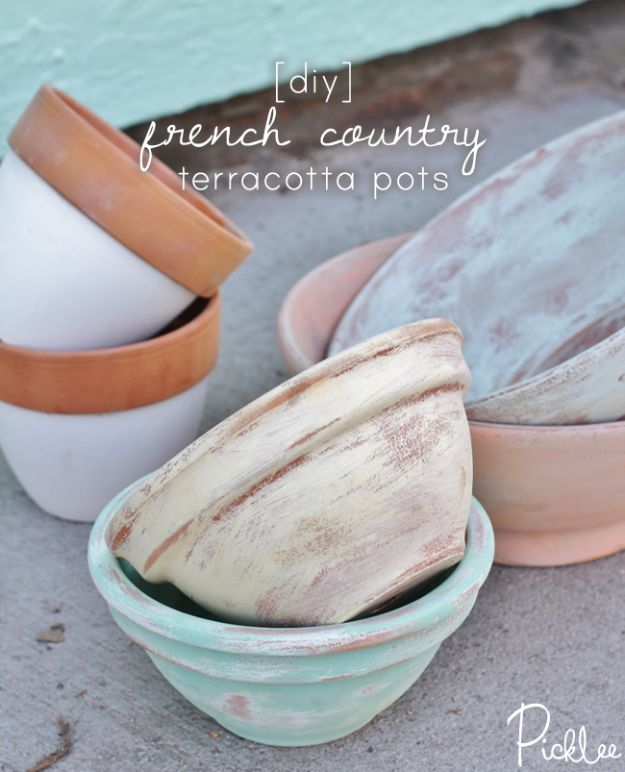 DIY Shabby Chic Decor Ideas - DIY French Country Terracotta Pots - French Farmhouse and Vintage White Linens - Bedroom, Living Room, Bathroom Ideas, Distressed Furniture and Boho Crafts - Cheap Dollar Store Projects and Upcycle Repurposed Home Decor #diyideas #shabbychic #diyhomedecor