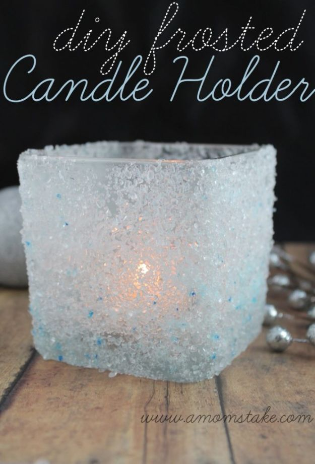 DIY Candle Holders - DIY Frosted Candle Holder - Easy Ideas for Home Decor With Candles, Tall Candlesticks and Votives - Fun Wooden, Rustic, Glass, Mason Jar, Boho and Projects With Items From Dollar Stores - Christmas, Holiday and Wedding Centerpieces - Cool Crafts and Homemade Cheap Gifts http://diyjoy.com/diy-candle-holders