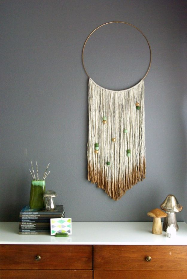 DIY Wall Hangings - DIY Gold Dipped Yarn Hanging - Easy Yarn Projects , Macrame Ideas , Fabric Tapestry and Paper Arts and Crafts , Planter and Wood Board Ideas for Bedroom and Living Room Decor - Cute Mobile and Wall Hanging for Nursery and Kids Rooms http://diyjoy.com/diy-wall-hangings