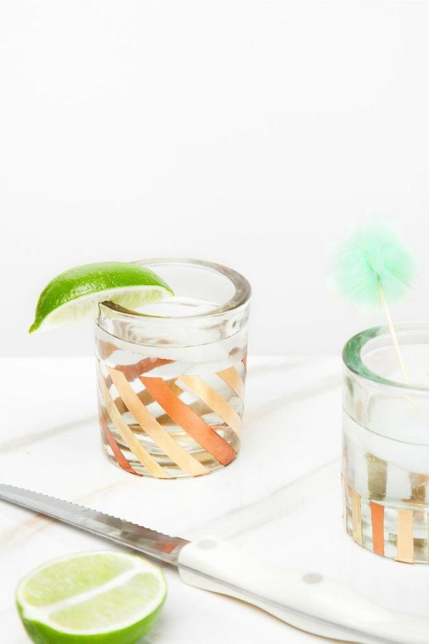 DIY Glassware - DIY Gold-Leafed Glasses - Cool Bar and Drink Glasses You Can Make and Decorate for Creative and Unique Serving Glass Ideas - Mugs, Cups, Decanters, Pitchers and Glass Ware Projects - Paint, Etch, Etching Tutorials, Dotted, Sharpie Art and Dishwasher Safe Decorating Tips - Easy DIY Gift Ideas for Him and Her - Handmade Home Decor DIY http://diyjoy.com/diy-glassware